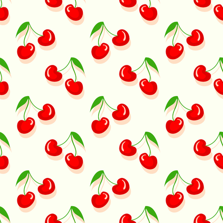 Fruit pattern with cherry vector. Summer cherries  sweet fruit print. Çizim