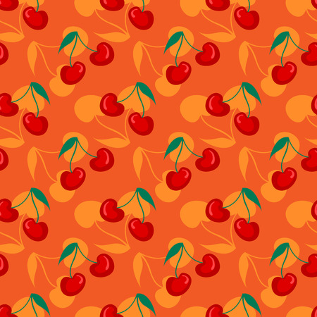 Fruit pattern with cherry vector. Summer cherries sweet fruit print.  イラスト・ベクター素材