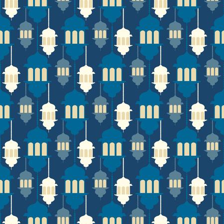 Seamless pattern with ramadan symbol icons. Geometric islamic pattern. Traditional arabian style vector background.
