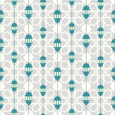 Seamless pattern with ramadan symbol icons. Geometric islamic pattern. Traditional arabian style vector background. 写真素材 - 120478103