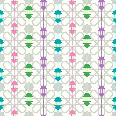 Seamless pattern with ramadan symbol icons. Geometric islamic pattern. Traditional arabian style vector background. 写真素材 - 120478104