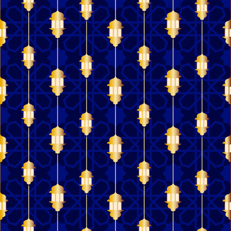 Seamless pattern with ramadan symbol icons. Geometric islamic pattern. Traditional arabian style vector background. 写真素材 - 120478108