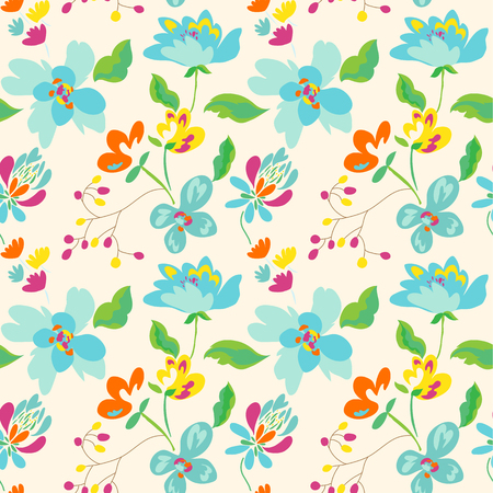 Floral seamless pattern with abstract flowers and leaves. Painted flowers background 写真素材 - 123853272