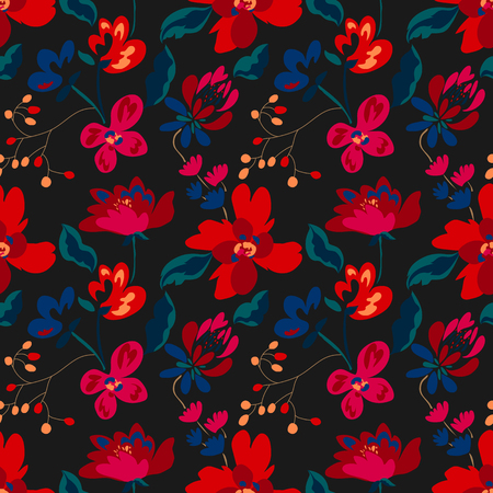 Floral seamless pattern with abstract flowers and leaves. Painted flowers background 写真素材 - 123853274