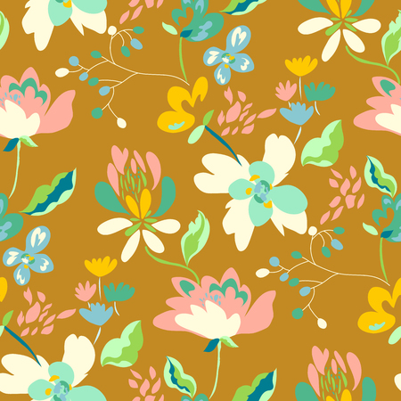 Floral seamless pattern with abstract flowers and leaves. Painted flowers background