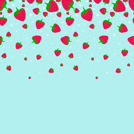 Red strawberry pattern in blue background