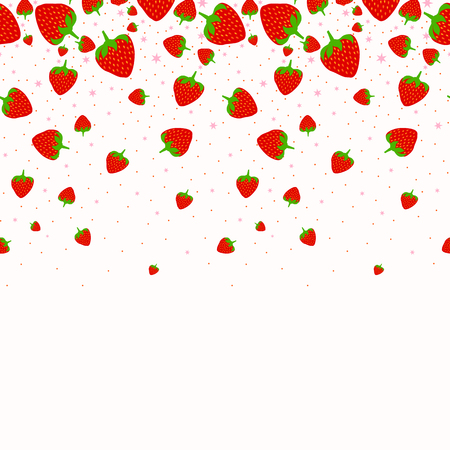Red strawberry pattern with star in white background Ilustração