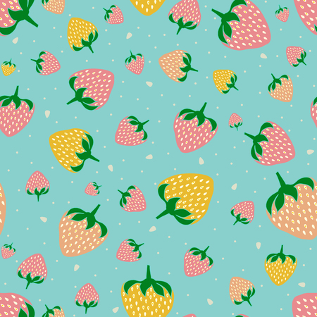 Seamless pattern with sweet strawberries. Fruit background.  Pattern in swatch