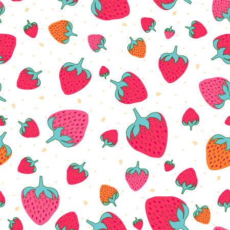 Seamless pattern with sweet strawberries. Fruit background.  pattern in swatch 写真素材 - 121611096