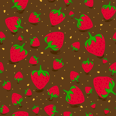 Seamless pattern with sweet strawberries and chocolate. Fruit background. Pattern in swatch   イラスト・ベクター素材