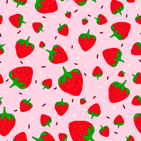 Seamless pattern with sweet strawberries and chocolate sprinkles.  Fruit background. Pattern in swatch  イラスト・ベクター素材