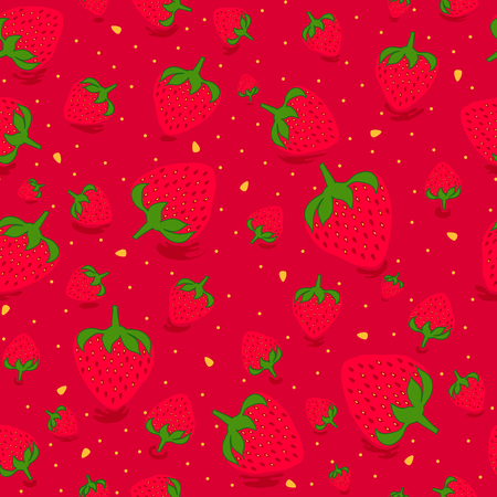 Seamless pattern with sweet strawberries in red background. Fruit background. Pattern in swatch
