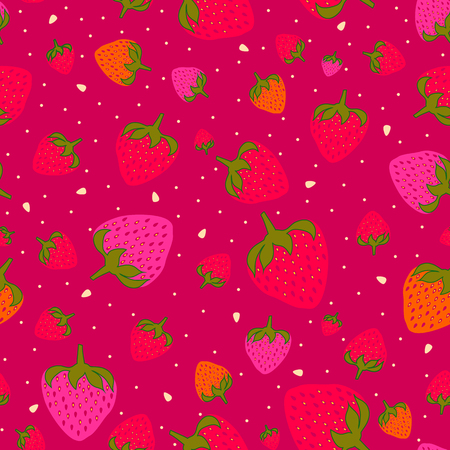 Seamless pattern with sweet strawberries in purple. Fruit background. Pattern in swatch