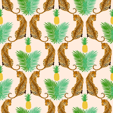 Seamless pattern with yellow pineapple, green leaves and leopard, jaguar, tiger, panther. Popular seamless pattern design. Wild big cats  fashion background. 写真素材 - 122919627