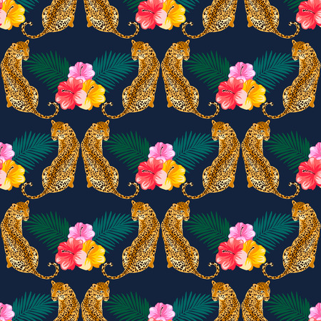 Tropical seamless pattern with flowers, leaves and leopard, jaguar, tiger, panther. Popular seamless pattern design. Wild big cats. 写真素材 - 122919628
