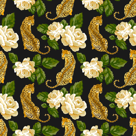 Seamless pattern with rose, leaves and leopard, jaguar, tiger, panther. Ilustracja