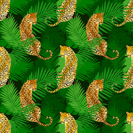 Leopard print pattern with tropical leaves. Popular seamless pattern design. Wild big cats 写真素材 - 122919630