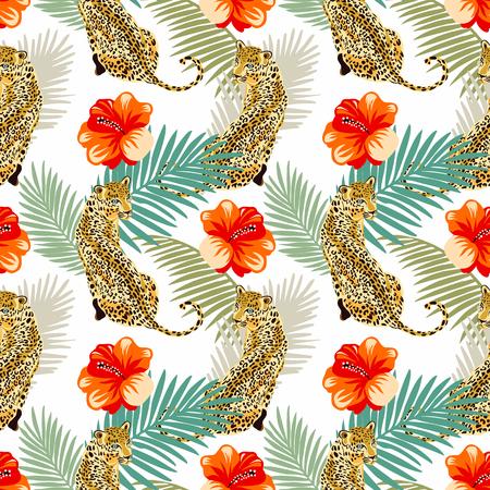 Nahtloses Blumenmuster des Leoparden. Animal-Print-Muster mit tropischen Blättern und Blumen