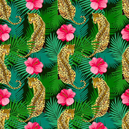 Floral leopard seamless pattern.  Animal print pattern with tropical leaves and flowers.  Wild big cats and  hibiscus Ilustração