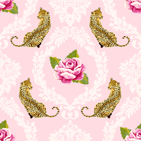 Pink damask seamless pattern with roses and wild leopard animal