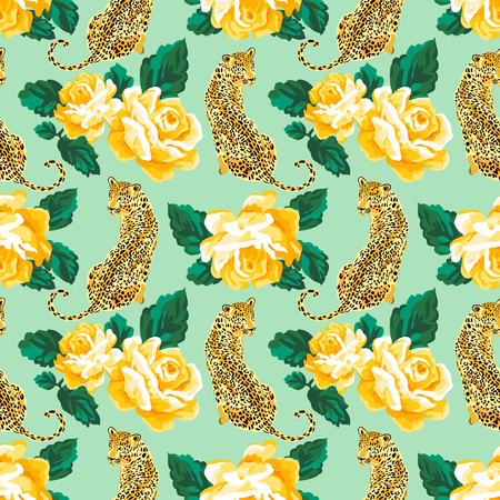Seamless pattern with yellow roses and wild leopard animal