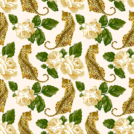 Seamless pattern with pastel roses and wild leopard animal Ilustração