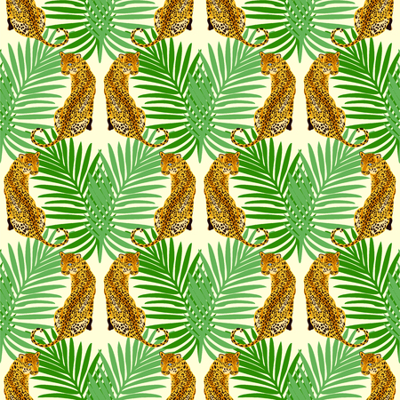 Jungle leopard seamless pattern.  Animal print pattern with tropical leaves and big wild cats