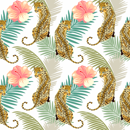 Floral leopard seamless pattern.  Animal print pattern with tropical leaves and flowers