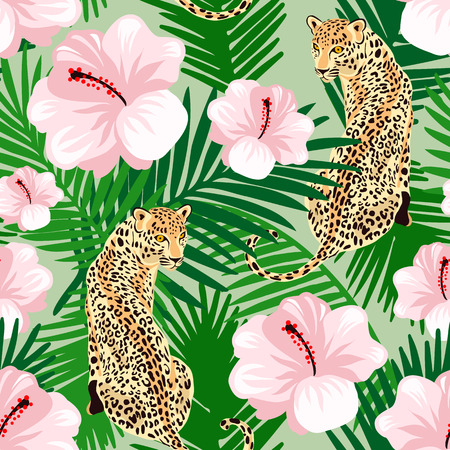 Floral jungle leopard seamless pattern.  Animal print pattern with tropical leaves and flowers