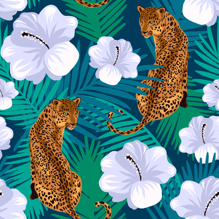 Floral jungle leopard seamless pattern.  Animal print pattern with tropical leaves and flowers in deep blue background. Ilustração