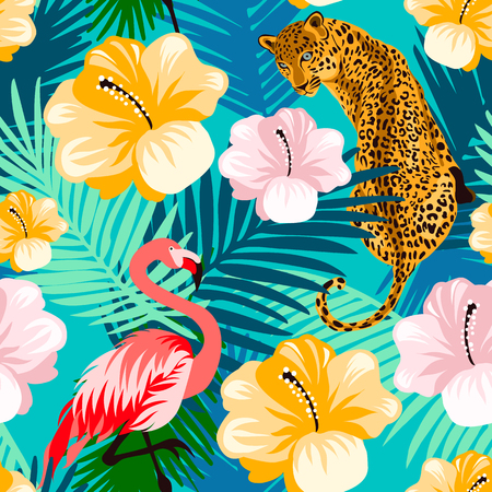 Floral jungle flamingo, leopard seamless pattern.  Animal print pattern with colorful  tropical leaves and flowers in turquoise background. Ilustração