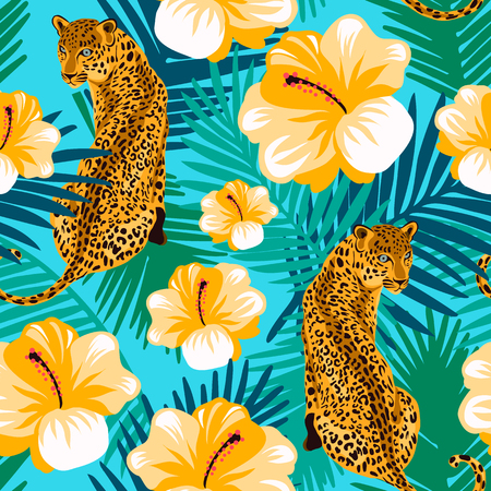 Floral jungle leopard seamless pattern.  Animal print pattern with tropical leaves and flowers in turquoise background.