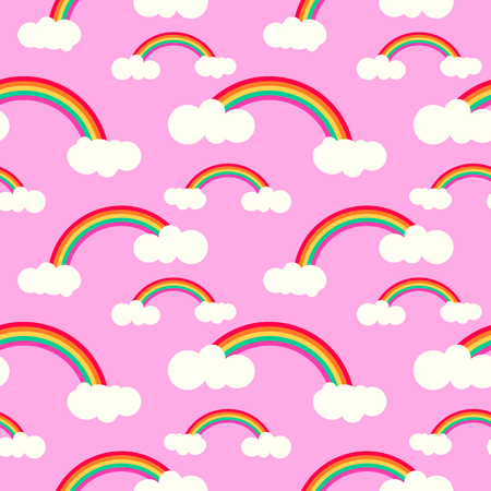 Rainbow and cloud  vector seamless pattern