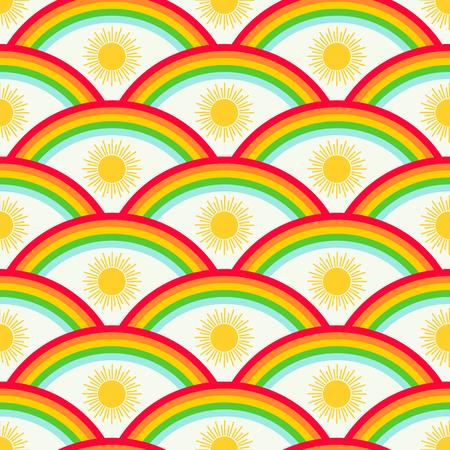 Rainbow and sun vector seamless pattern 写真素材 - 122919649