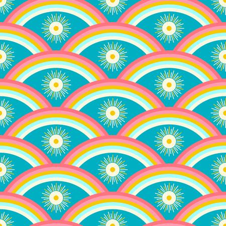 Rainbow and sun vector seamless pattern  イラスト・ベクター素材