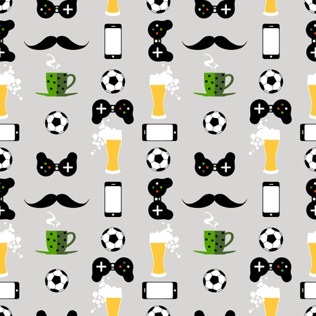 Seamless pattern with male iconic elements with beer, coffee, soccer ball, cell phone and gamepad 写真素材 - 125016458