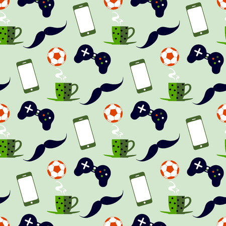 Seamless pattern with male iconic elements with  coffee, soccer ball, cell phone and gamepad  イラスト・ベクター素材