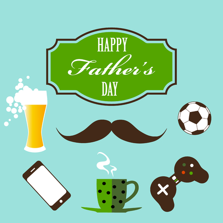 Vector happy fathers day vintage style greeting card design with mustache, gamepad, soccer ball, cell phone, beer and lettering 写真素材 - 125016460