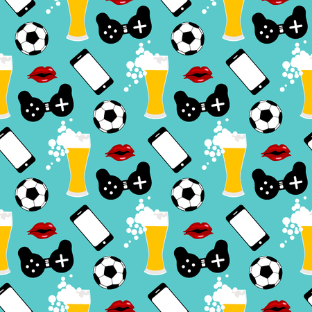 Seamless pattern with male iconic elements with beer, woman , soccer ball and gamepad