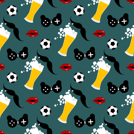 Seamless pattern with male iconic elements with beer, woman , soccer ball and gamepad 写真素材 - 125016464