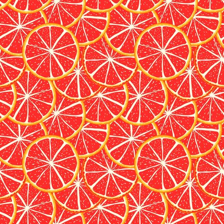 Seamless pattern grapefruit  red background