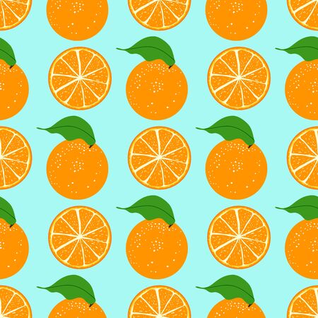 Seamless pattern orange fruit on a blue background. Orange whole, slice, half cut orange.