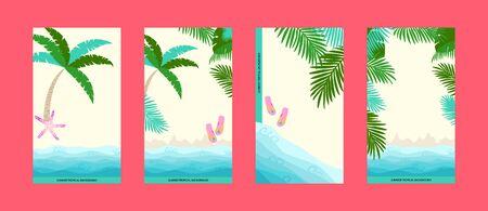Tropical summer beach creative background set. Social media stories template design  イラスト・ベクター素材