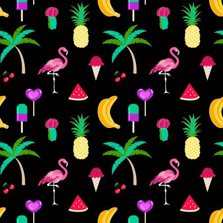 Summer time seamless pattern with tropical elements on a black background. Colorful summer tropic  icon background for your design 写真素材 - 126862295