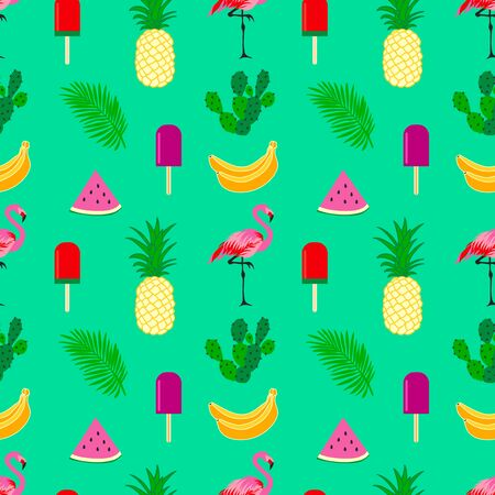 Summer time seamless pattern with tropical elements. Colorful summer cute  tropic  icon background 写真素材 - 126862298