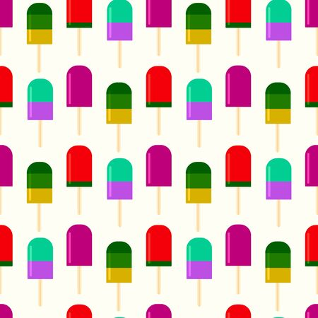 Summer background with fruity ice cream. summertime seamless pattern with ice cream pop stick. Summer tropical elements vector. fashionable cute pattern design for child girls and boy Ilustração