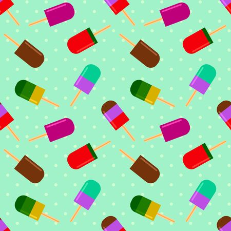 Summer pattern with fruity ice cream on a polka dot background. summertime seamless pattern with ice cream pop stick. Summer tropical elements vector for girls and boys 写真素材 - 126862303