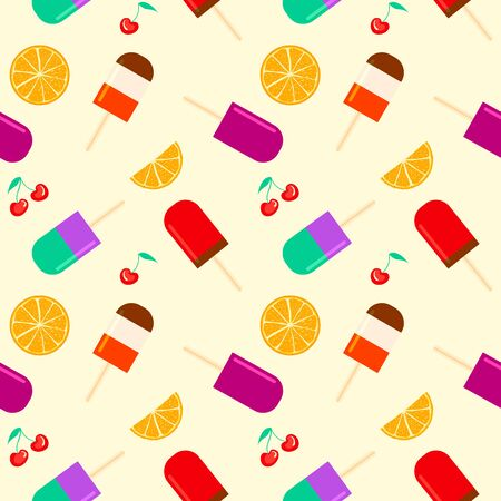 Summer background with fruity ice cream, orange and cherry furit. summertime seamless pattern with ice cream pop stick. Summer tropical elements vector. Ilustração