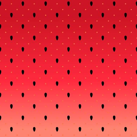 Vector watermelon background with black seeds and polka dots.  Summer abstract fashion seamless pattern 写真素材 - 126862320