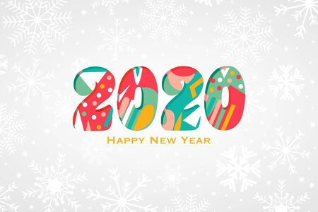 2020 happy new year background with cute colorful geometric shapes